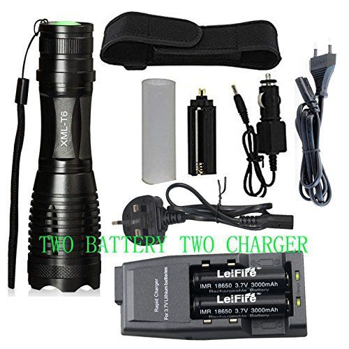 Garder une® Nouveau 2200lumens CREE XM-L T6LED Zoom lampe torche Zoom 5modes lampe torche LED + 2x 18650Batterie et 2chargeurs: Tweet…
