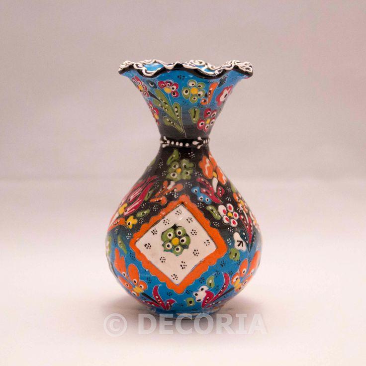 Large Vase - Baby Blue & Black - DECORIA HOME & GIFT