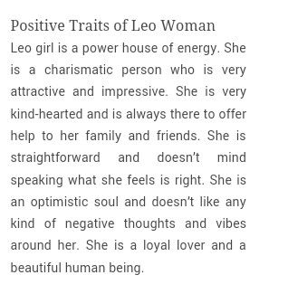 Positive traits of a Leo Woman
