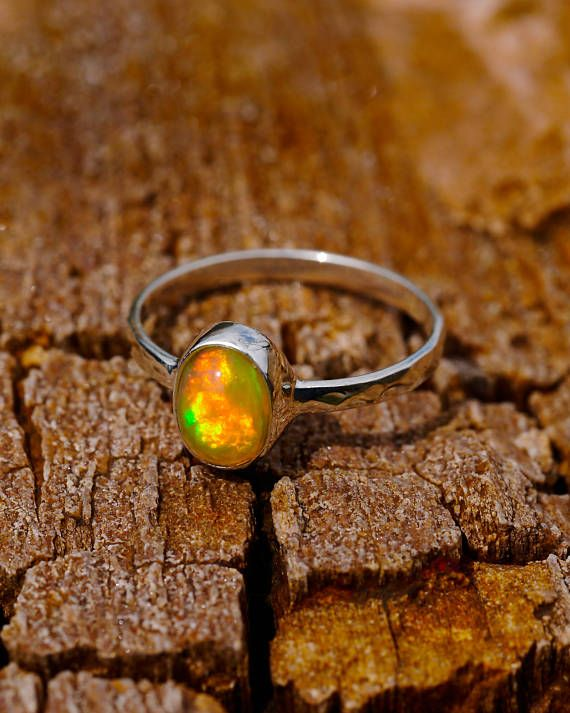 Opal Engagement Ring, White Gold Ring, Fire Opal Ring, Delicate Ring, Wedding Band, Promise Ring, Dainty Ring, Gemstone Ring, Birthday Gift