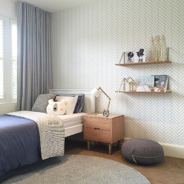 "Love how Little Liberty Rooms styled our ""Tile Progress"" wallpaper in this bedroom!"