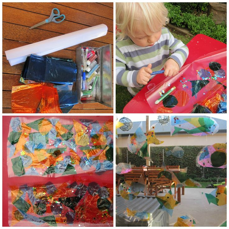 Art and Craft ideas for Kids. Cellophane and Contact art activity. Quick, easy and fun!