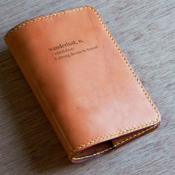 MY FAVORITEEEEEEE   Wanderlust Leather Passport Cover, a strong desire to travel - by Loft852