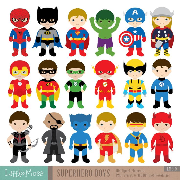 18 Boys Superhero Costumes Clipart Superheroes by LittleMoss