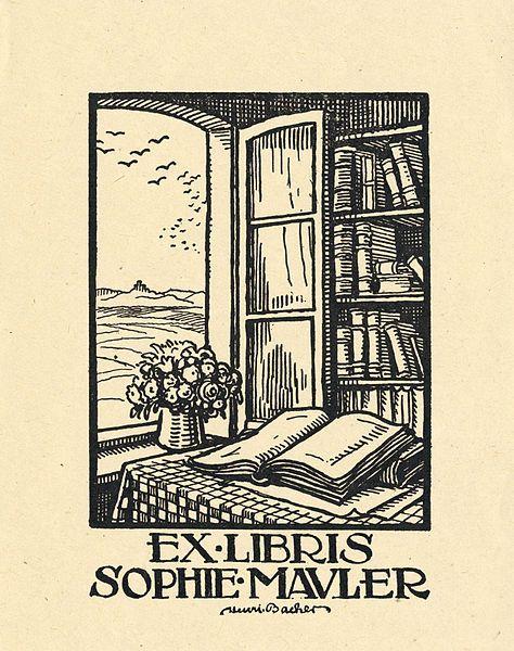 Ex libris Sophie Mauler (1900s) by Henri Bacher (1890-1934)