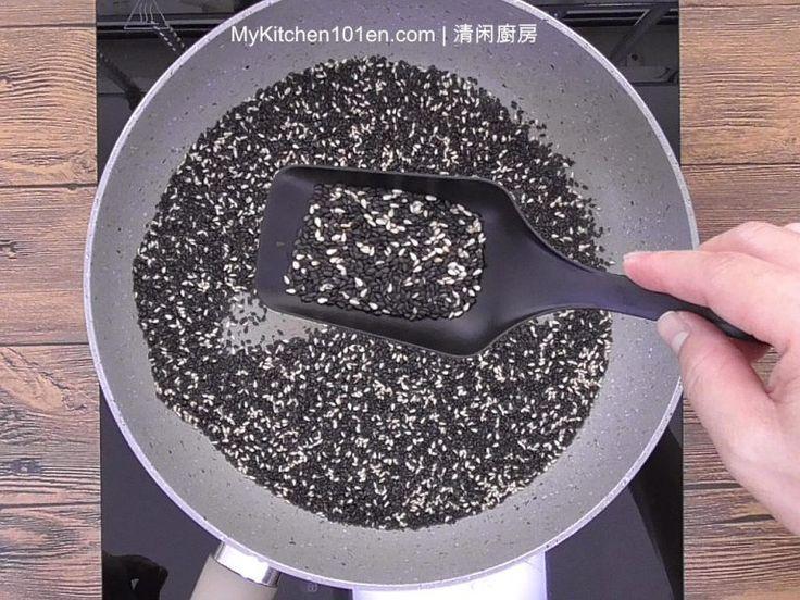glutinous rice balls with black sesame paste filling