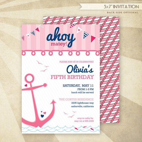 Custom Nautical Birthday - PRINTABLE Invitation - Pink - HWTM via Etsy