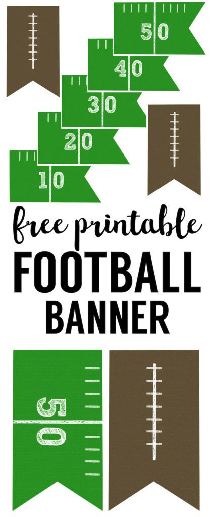 Football Banner Free Printable. Free printable football decorations. This DIY football banner printable is easy and simple for your super bowl party or kids football party.