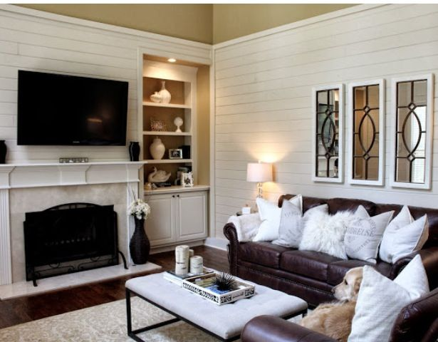 Ok not the pillows but brown couch and white walls look for Tiffany d living room