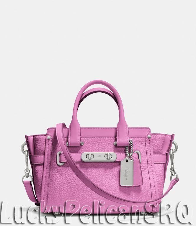 COACH 35798 SWAGGER 20 CARRYALL SATCHEL CROSSBODY LEATHER NICKEL/ PUCE PINK NWT #Coach #Satchel