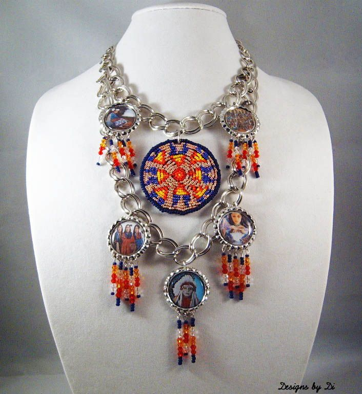Silver Native American Inspired Bottle Cap Necklace
