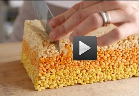 Candy Corn Shaped Rice Crispy treats! via Martha Stewart (video)