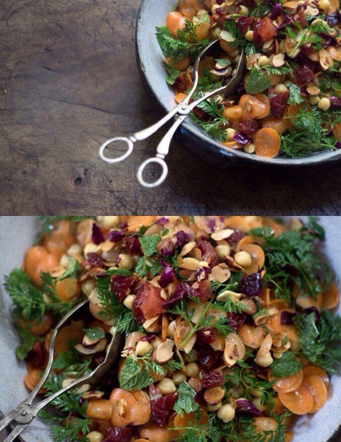 Morrocan Carrot and Chickpea Salad  #vegan