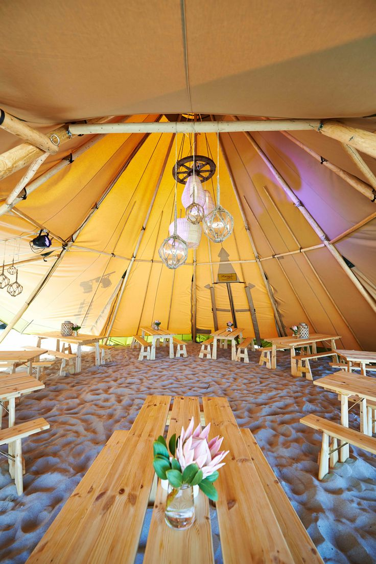 Margaret River Gourmet Escape - Tipi Interior - Timber Trestle Tables and Timber Bench Seats - Protea -  THE ZEST GROUP WA - www.thezestgroupwa.com.au