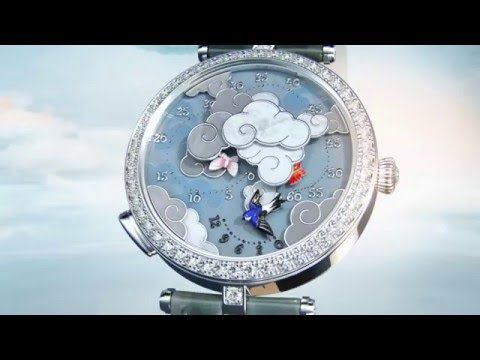 Ever a faithful interpreter of lightness and movement, the Maison gives pride of place to butterflies with the Lady Arpels Ronde des Papillons watch. The circling dance of three colored butterflies between the clouds sets the tempo for the minutes, while the hours take flight in the wake of a swallow. #PoetryofTime #PoeticComplications #SIHH2016