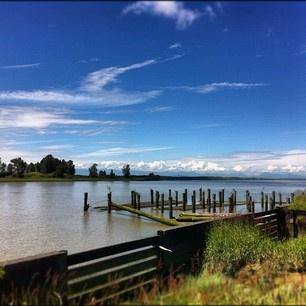 The Fraser River from historic Steveston Village in Richmond, BC.