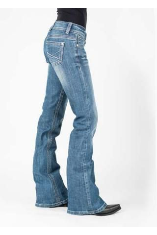 White Dn Mixed With Metallic Back Pocket Stetson Ladies Jean- 816 Fit Jeans Urban Western Wear