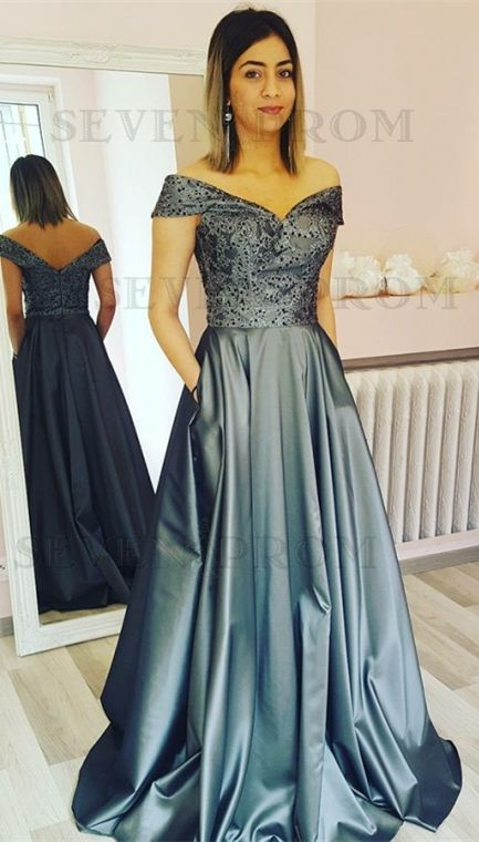 6db8946d0d18 elegant off the shoulder grey satin prom dress with pocket, fashion a-line  gray
