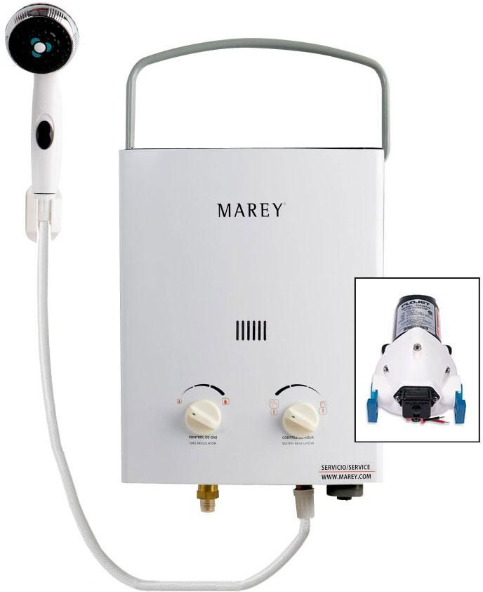 Marey Portable 5L Gas Tankless Water Heater Bundle (w/ 12V pump)