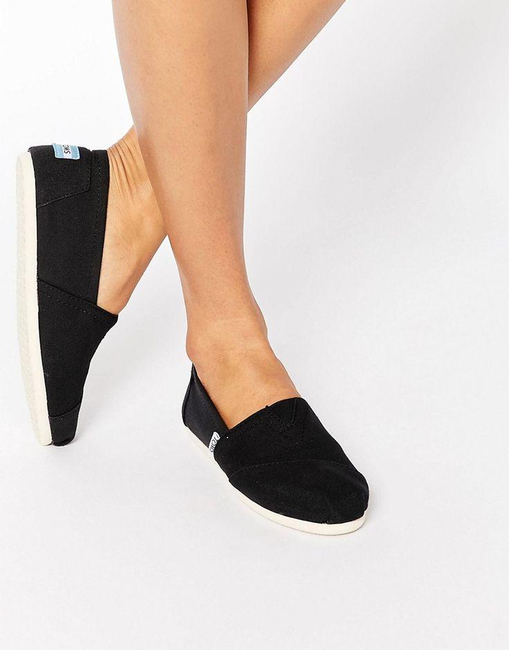 Image 1 ofTOMS Classic Canvas Black Flat Shoes