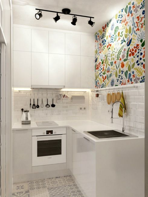 Completely white kitchen with 1 bright wall
