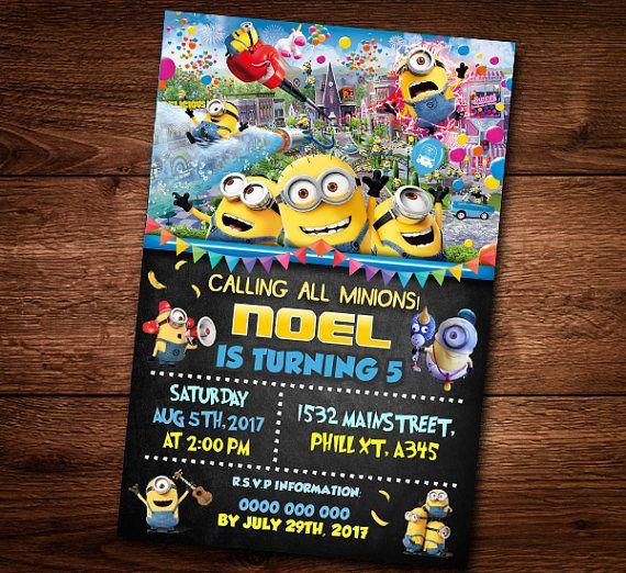 Minions Invitation Card, For kids, Birthday Card, Minions Party Card, Editable Text, Minion