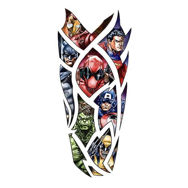 Best 25 marvel tattoo sleeve ideas on pinterest for Marvel sleeve tattoo black and white