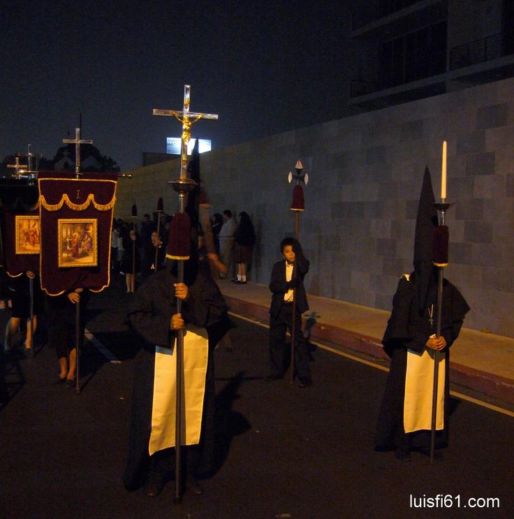 Penitents at the procession of La villa de Guadalupe