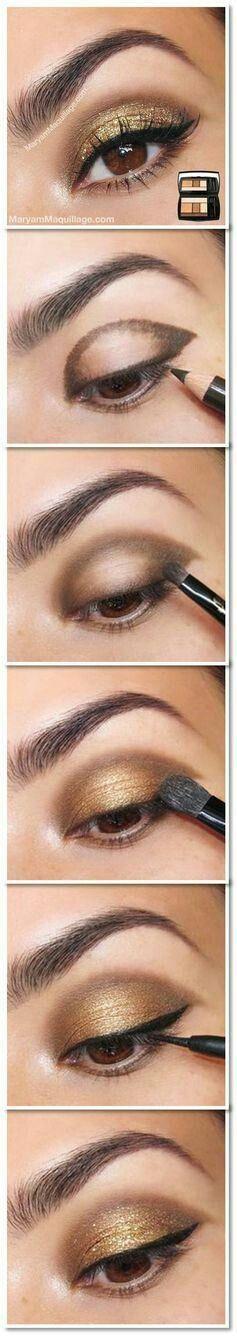 Maquillaje sombra dorada