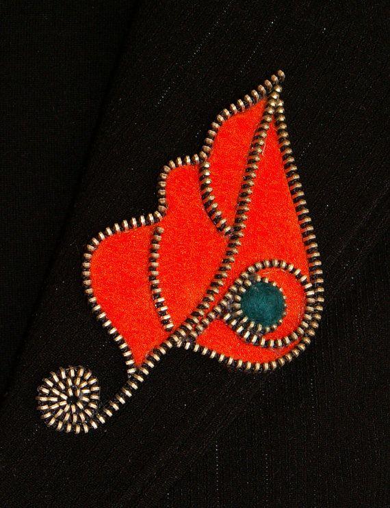 Orange Leaf designer zipper and felt handmade brooch by 3latna