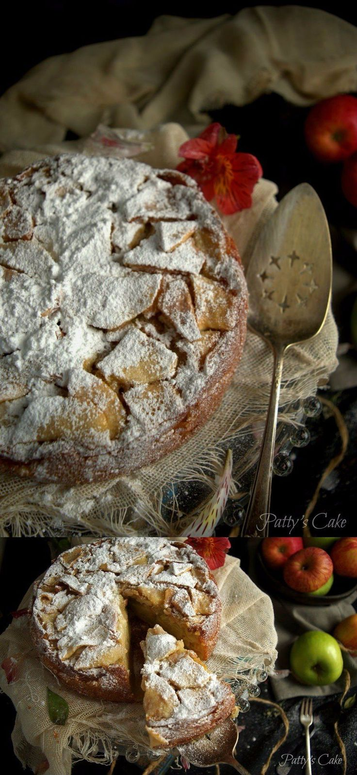 Clásico y jugoso bizcocho francés de manzanas. Una receta tradicional y muy deliciosa.