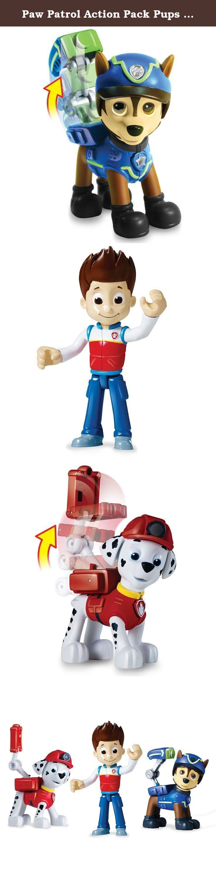 Paw Patrol Action Pack Pups 3pk Figure Set Marshall, Ryder, Chase. No job is too big and no pup is too small! Now you can reenact rescue scenes with 2 Action Pack Pups and Ryder! All of your favorite Paw Patrol characters are ready to save the day as you press their badges to unleash incredible transformations. Race to the ruff-ruff rescue with Rescue Marshall, Spy Chase and Ryder! Whether it's Marshall's medical scanner or Chase's spy gear, each Action Pack pup is loaded with unique...