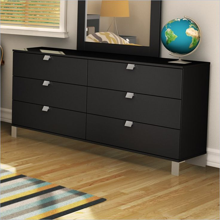 Affinato 6 Drawer Double Dresser in Solid Black Finish  by  South Shore $204.96  http://www.cymax.com/South-Shore-Affinato-6-Drawer-Double-Dresser-in-Solid-Black-Finish-3270010.htm