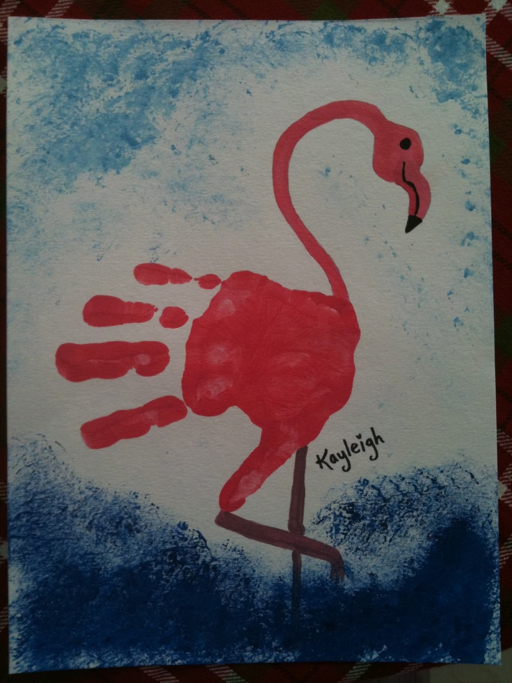 Handprint made into a flamingo Cute for this summer. What about on a t-dress, or swim-suit cover-up, or a sign for your door, or yard sign, etc.