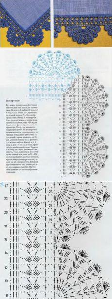 Красивая кружевная отделка кромки крючком