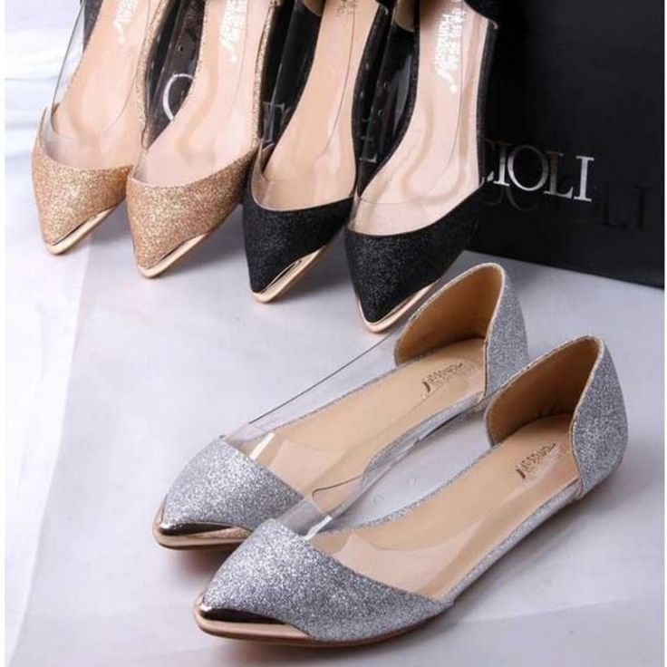 Casual Glittering Pointed Toe Flat Shoes - Daisy Dress For Less - 5
