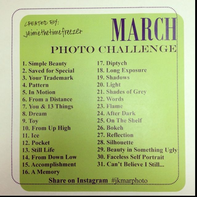 instagram challenge | March Photo Challenge Instagram #jkmarphoto | Photo Challenges