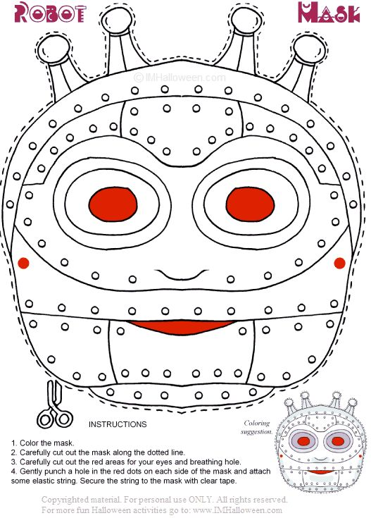 Robot Halloween Mask To Print Out And Color