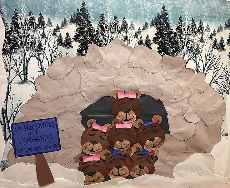 Preschool Bulletin Board- Winter Mrs. Gholson's Grizzly Bears Hibernate