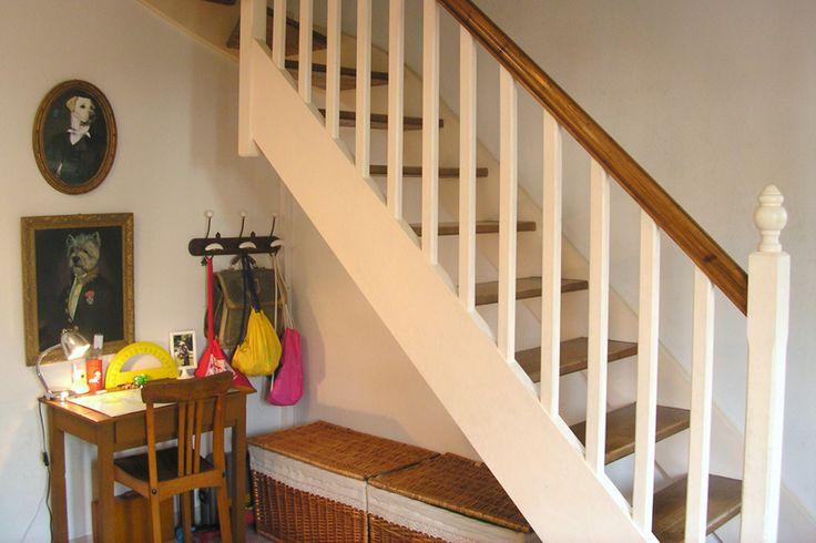 Escalier blanc et bois id es pour l 39 escalier pinterest deco - Idee deco muurtrap ...
