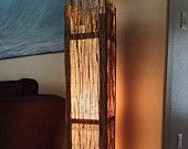 """Items similar to Bamboo Rustic Floor Lamp, Beach lamp, Rustic wood floor lamp, square rustic table lamp, 54"""" height floor lamp on Etsy"""