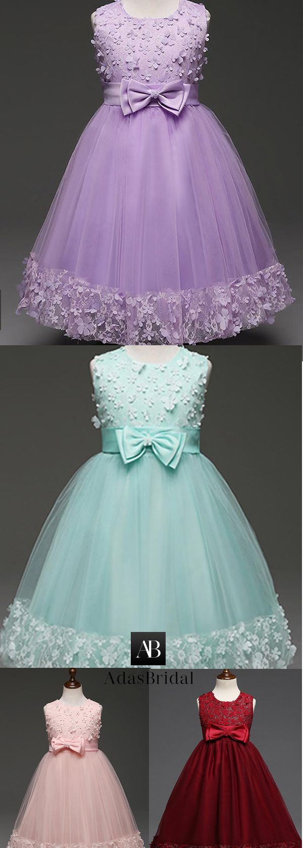 Marvelous Tulle Jewel Neckline Floor-length Ball Gown Flower Girl Dresses With Lace Appliques & Handmade Flower & Bowknot
