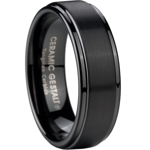 Black Tungsten Carbide Wedding Band Comfort Fit With Step Edges 8mm Width