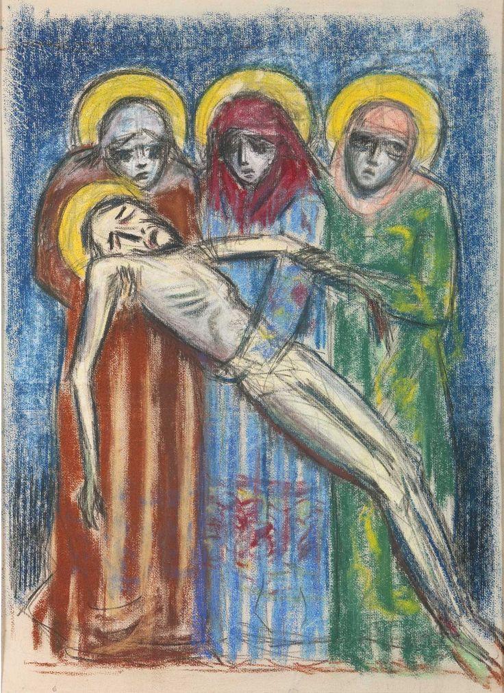 Jean Moulin (1899-1944) Pietà, vers 1932, pastel sur papier, 50 x 39 cm