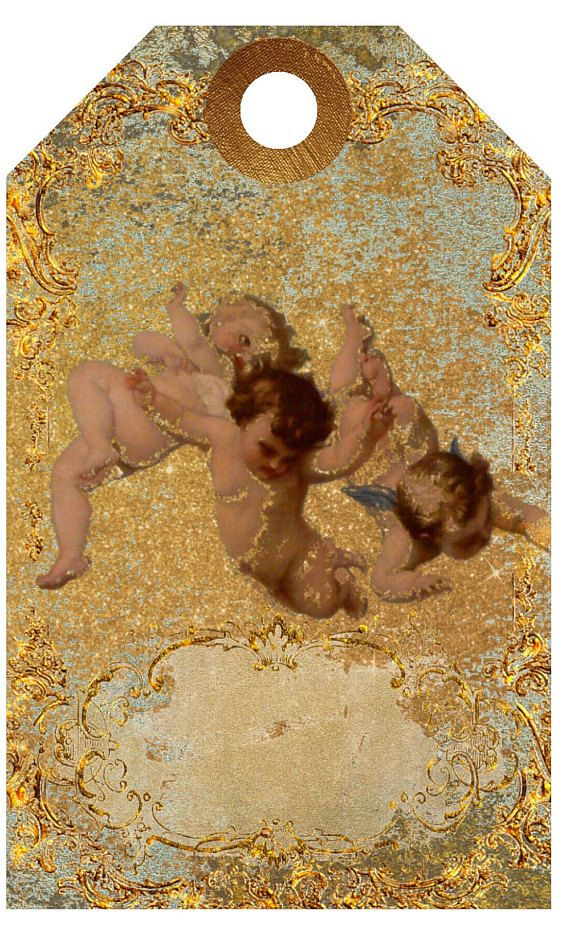 Printables Cherubs Gold Grunge Digital Download Gift Tag
