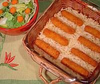 Get dinner on the table easily with frozen fish sticks and hashbrown potatoes.