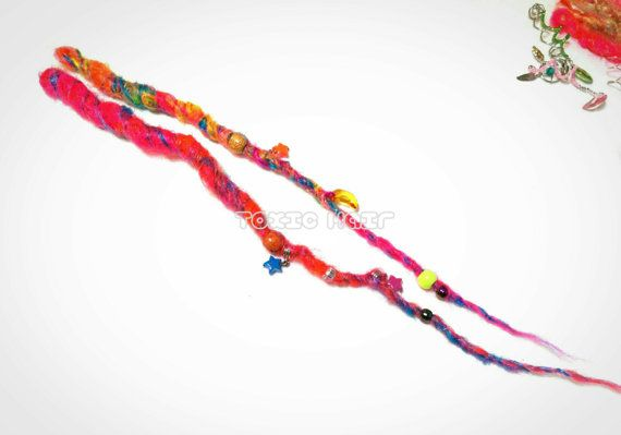 Check out Tutti frutti 2 dreads embellished with beads and charms crocheted, dreadlocks, hair wrap, hair extensions ready to ship on toxichair
