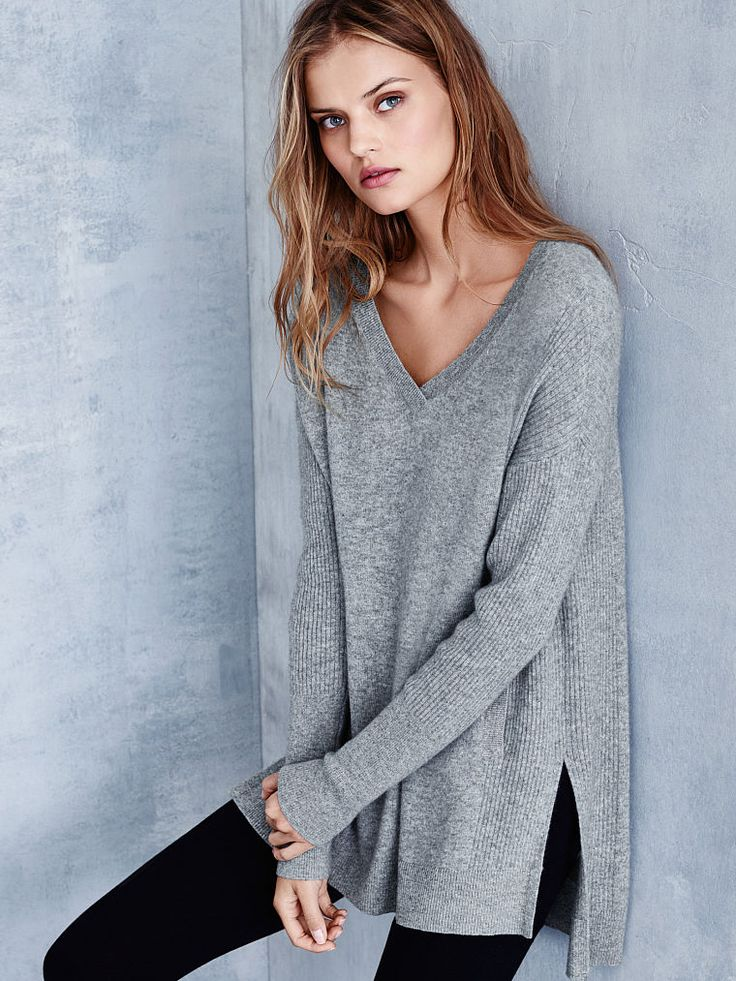 It's laid-back, it's super luxe…we guess you can say our cashmere tunic's got it all. | Victoria's Secret Cashmere V-neck Tunic