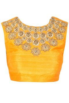 Yellow Silk Blouse with Golden embroidery.. Get it done at http://mytailor.in/
