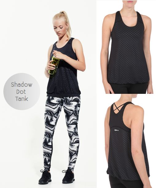 Get in the fitness zone with this Shadow Dot Tank from Pure Lime SS17 collection....